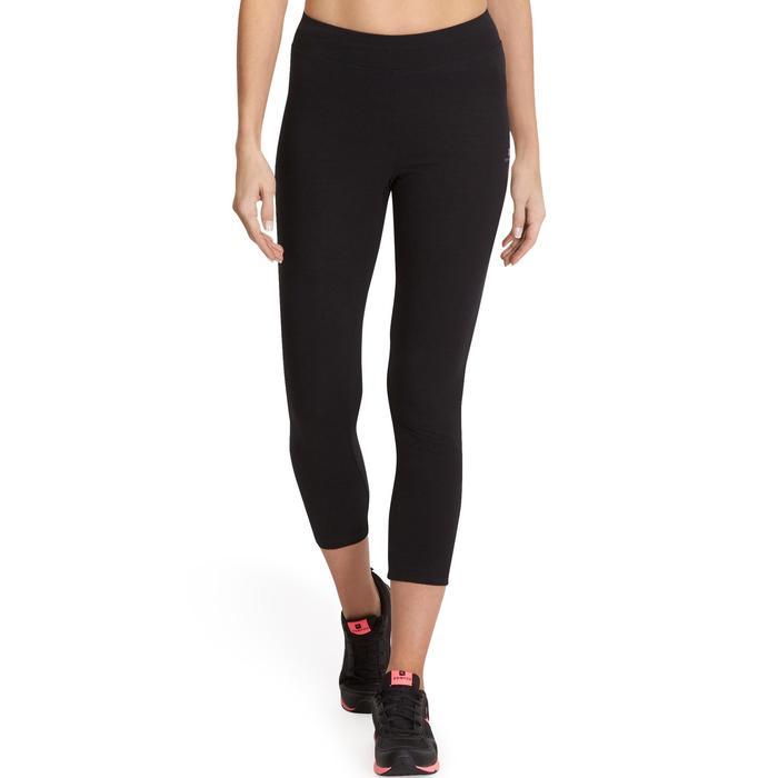 7/8-dameslegging FIT+ 500 voor gym en stretching slim fit zwart