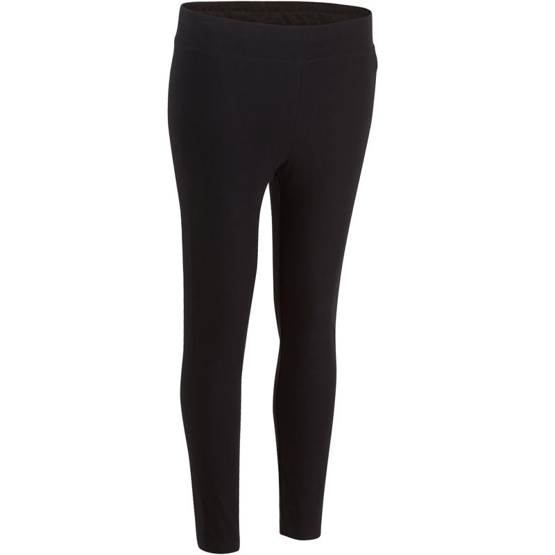 500 Fit+ Legging Slim-Fit Pilates & Gentle Gym 7/8 Wanita - Hitam