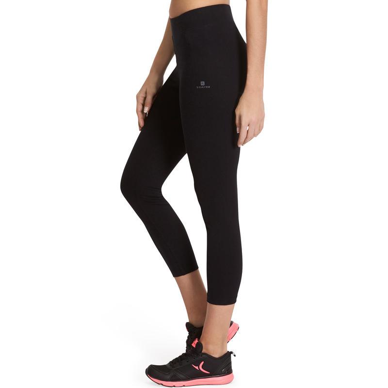 Calzas 7/8 FIT+ 500 slim gimnasia y pilates mujer negras