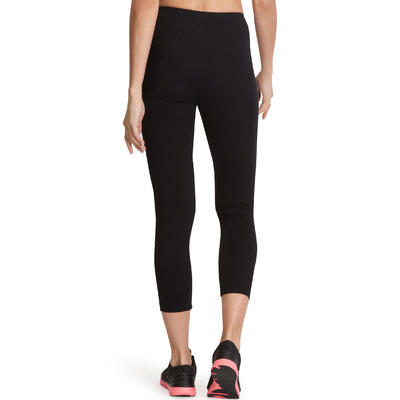 500 Fit+ Women's Slim-Fit Gym & Pilates 7/8 Leggings - Black