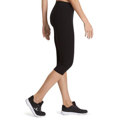 Mallas 3/4 FIT+ 500 slim pilates y gimnasia suave mujer negro