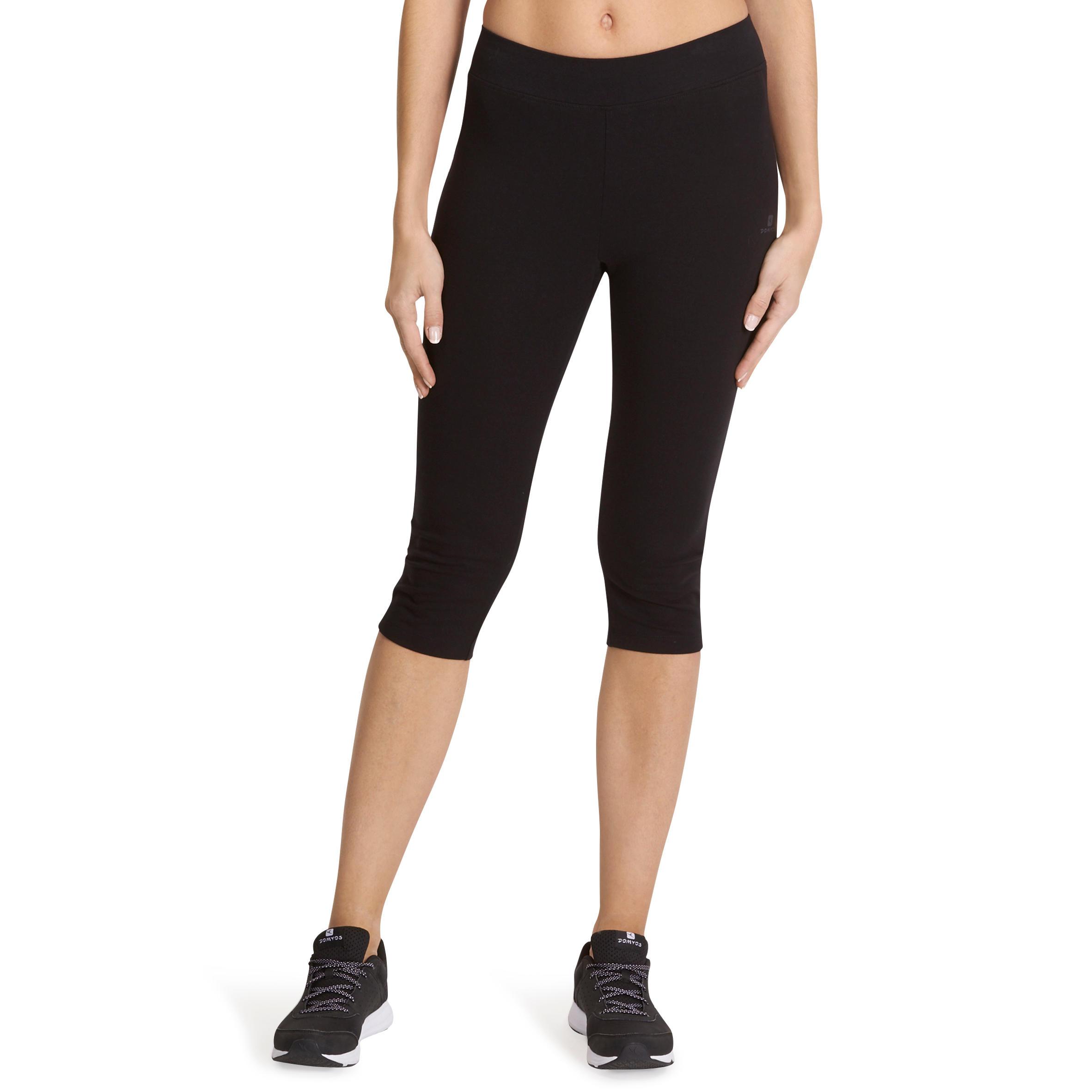 Fit+ 500 Women's Slim-Fit Gym & Pilates Cropped Bottoms - Black