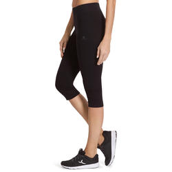 Women's Slim Fitness Cropped Bottoms Fit+ 500 - Black