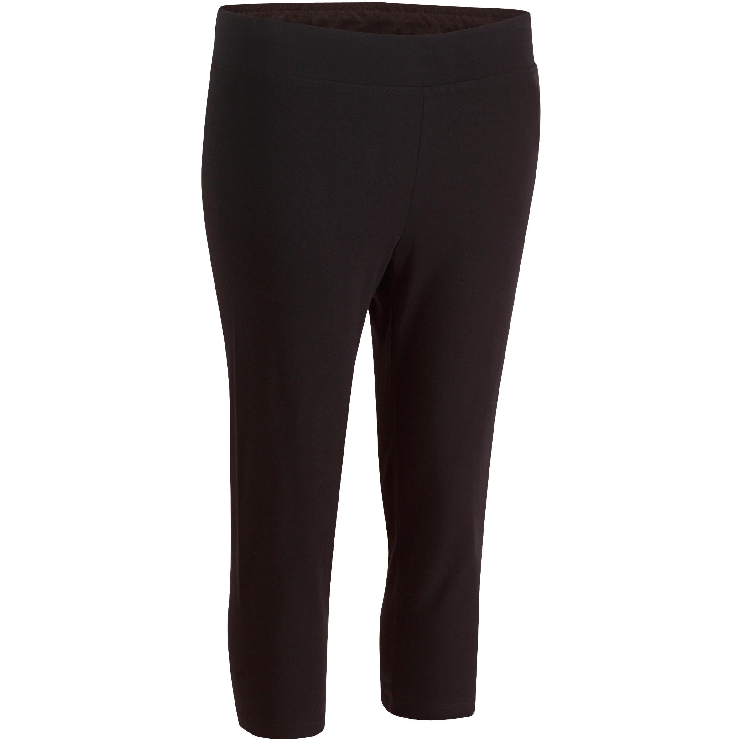 Domyos Kuitbroek Fit+ 500 slim fit pilates en lichte gym dames zwart