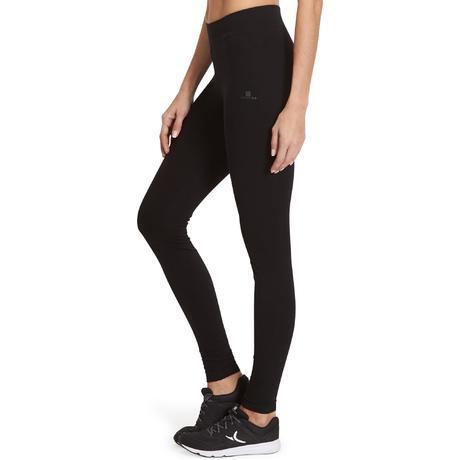 Dameslegging FIT+ 500 voor gym en pilates slim fit zwart  e1b70ef17ff