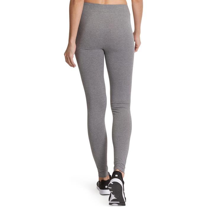 Dameslegging FIT+ 500 voor gym en pilates slim fit gemêleerd middengrijs