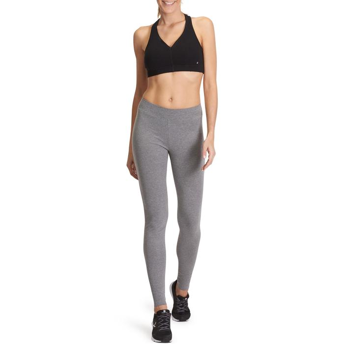 Leggings FIT+ 500 slim gimnasia y pilates mujer gris jaspeado