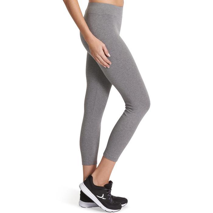 7/8-dameslegging FIT+500 voor gym en stretching slim fit gemêleerd grijs