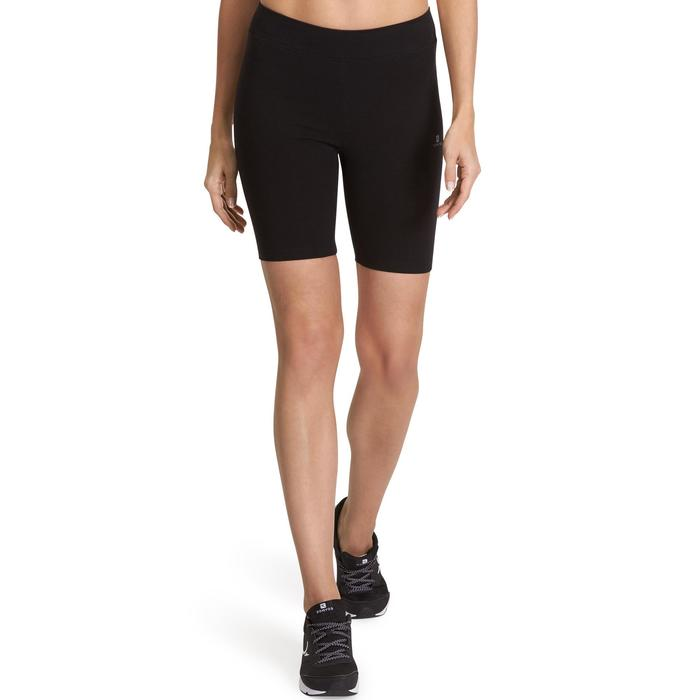 Damesshort Fit+ 500 voor gym en stretching slim fit zwart