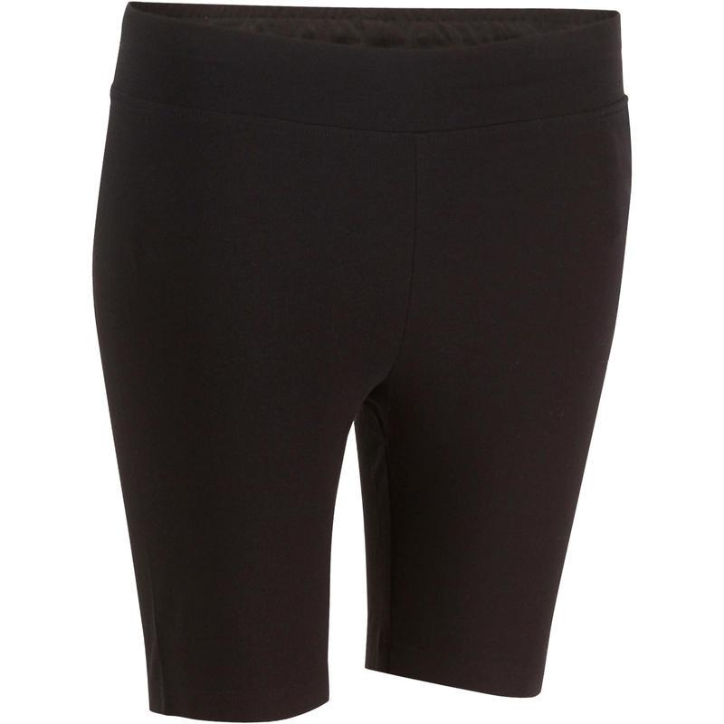 Fit+ 500 Women's Slim-Fit Gym & Pilates Cycling Shorts - Black