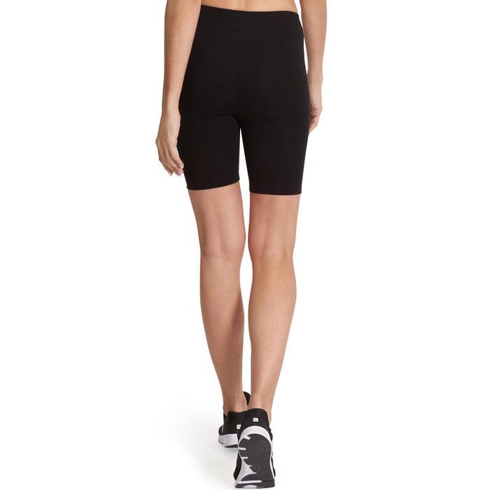 Mallas Leggings Cortos Gimnasia Pilates Domyos FIT +500 Mujer Negro