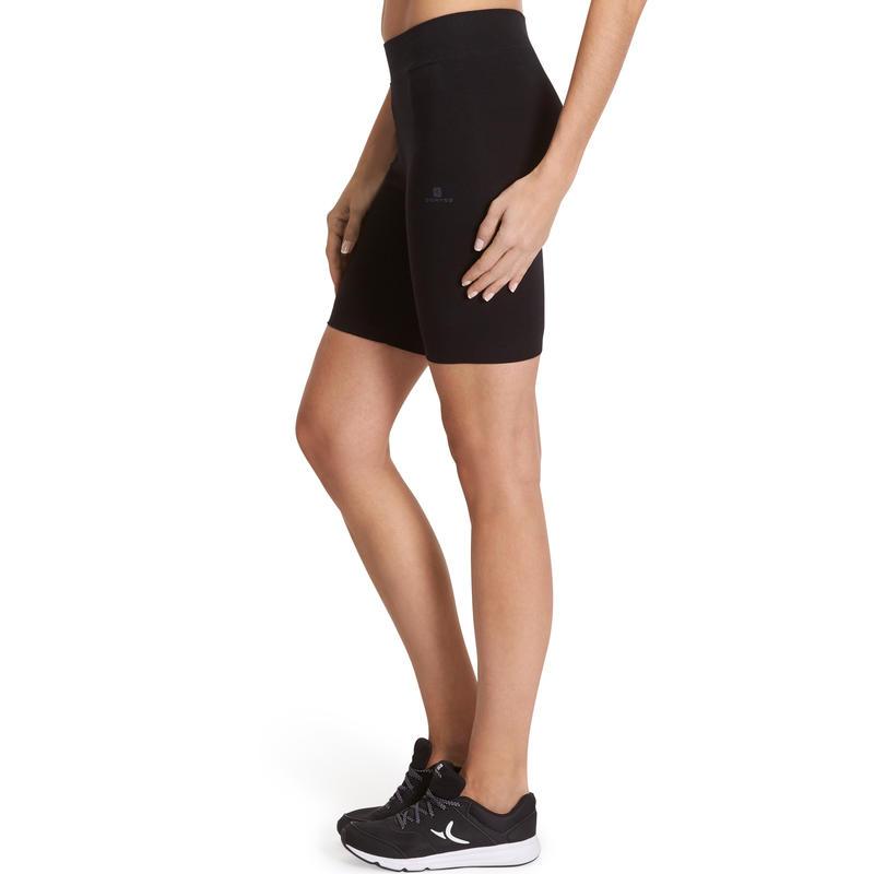 Calzas ciclistas FIT+ 500 slim gimnasia y pilates mujer negro