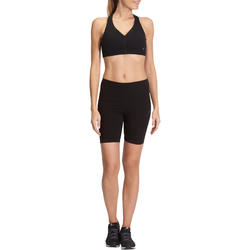 Fit+ 500 Women's Slim-Fit Gym & Pilates Cycling Shorts - Black