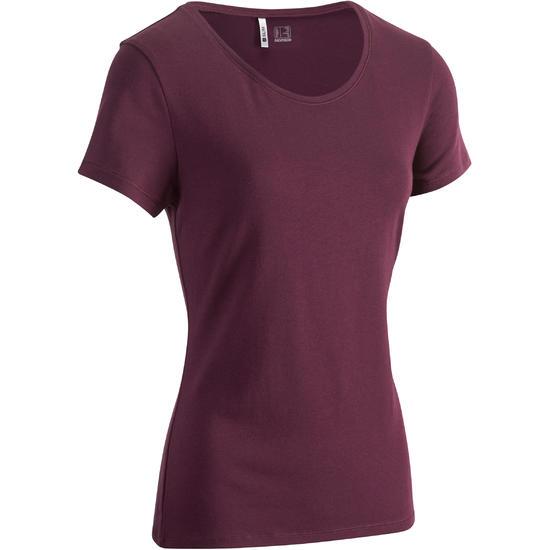 Dames T-shirt met korte mouwen voor gym en pilates, regular fit, gemêleerd - 880759