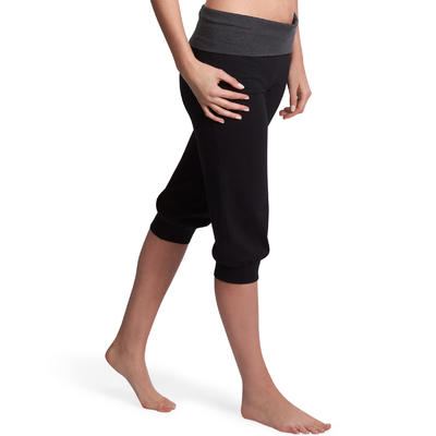 Leggings capri Deportivos Premamá Alg Bio Yoga Domyos Mujer Negro