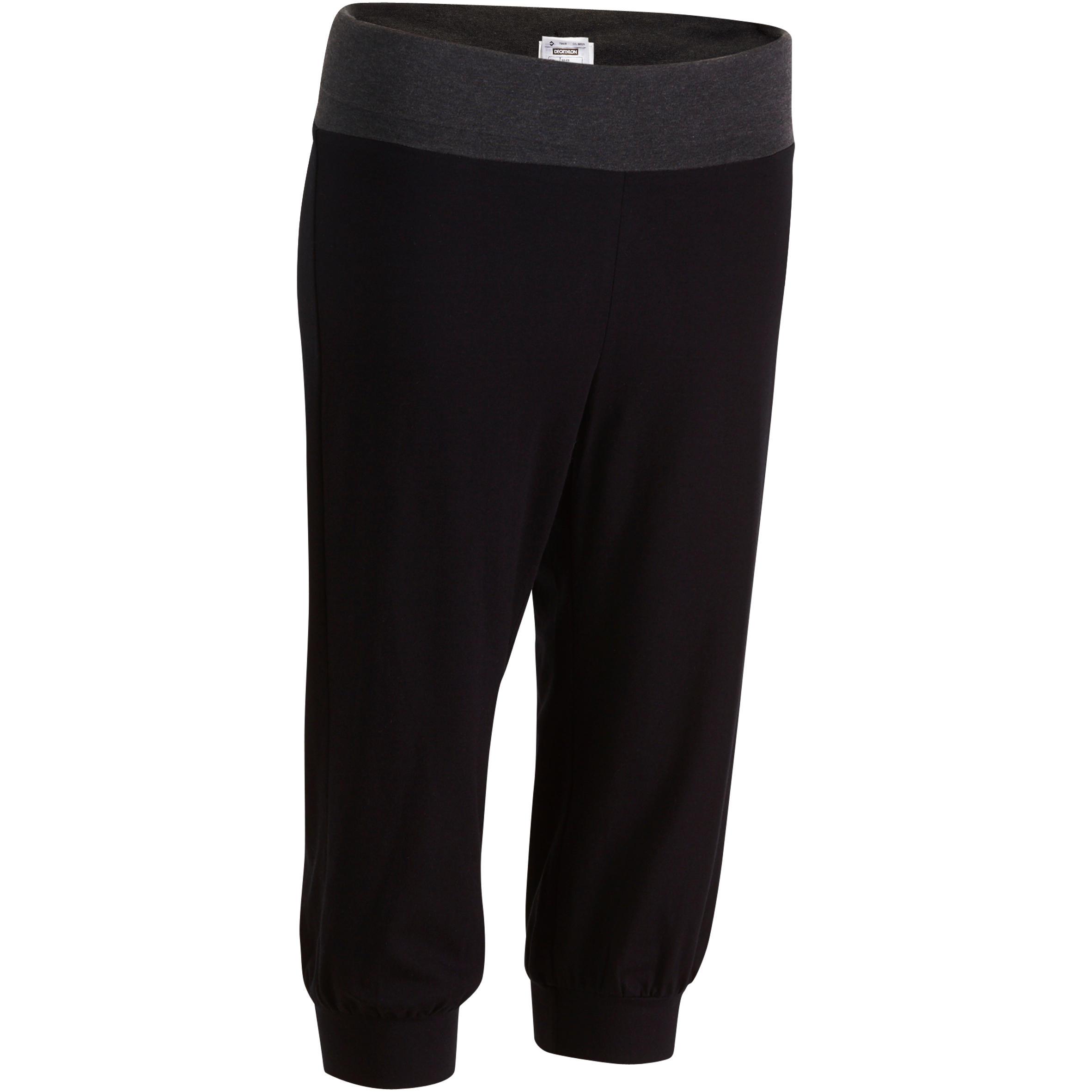 Mallas 3/4 yoga algodón biológico mujer negro gris