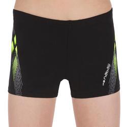 500 Fit Adibo Boy's Swimming Boxer Shorts - Black Yellow