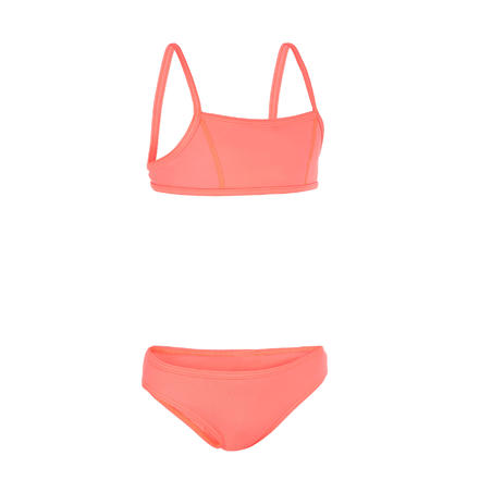 GIRL'S SURF SWIMSUIT TRIANGLE TOP AND BOTTOM BALI 100 PINK