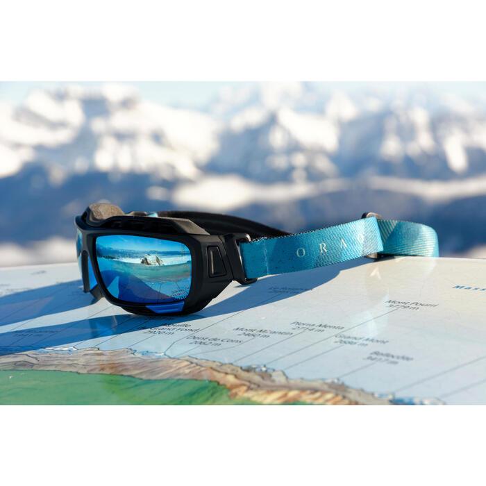 Lunettes de randonnée adulte MH 910 noires/bleues verres interchangeables cat4+2 - 883388