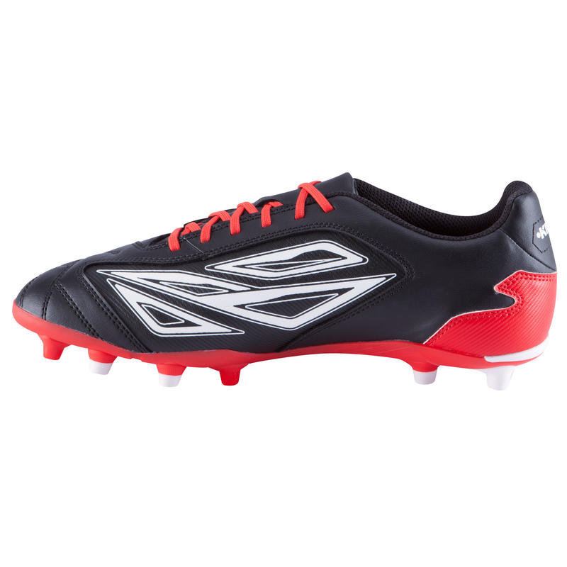 Zapatillas de rugby adulto terrenos secos Density 300 FG negro rojo blanco