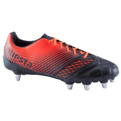 Kids' 8-Stud Soft Ground Rugby Boots Density R700 SG - Black/Red