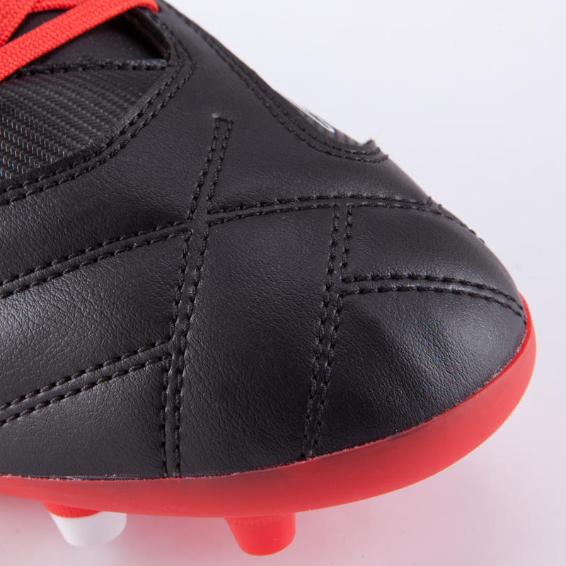 Zapatillas de rugby adulto terrenos secos Density 300 FG negro rojo blanco
