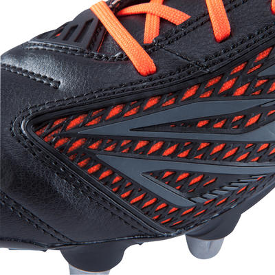 Kids' 8-Stud Soft Ground Rugby Boots Density R700 SG - Black/Red