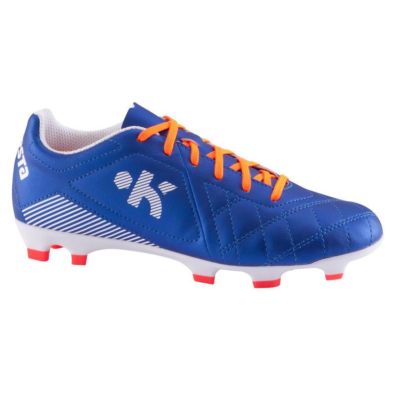 Zapatillas de fútbol niños terrenos secos Agility 500 FG azul naranja