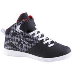 初學者強100男孩/女童籃球鞋 - 黑色/銀色