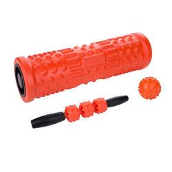 3-IN-1 MASSAGE KIT (FOAM ROLLER, BALL, STICK) - ORANGE