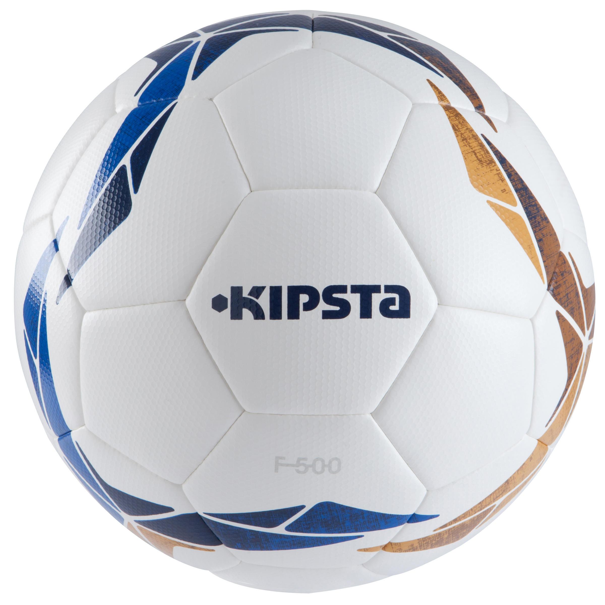 Ballon de soccer F500 hybride taille 5 blanc bleu ocre