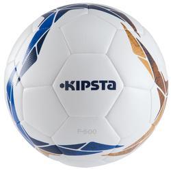Voetbal F500 hybride maat 5 wit blauw oker