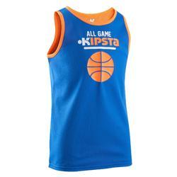 兒童雙面籃球衣- 藍色 橘色