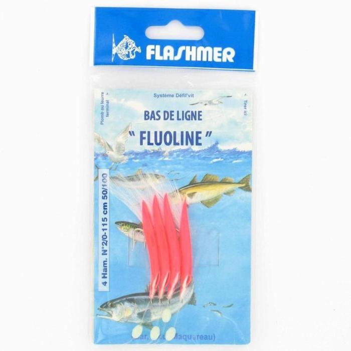Onderlijn vissen op zee Fluoline 4 haken nr. 2/0