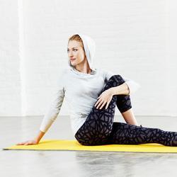 Schoenbestendig gymmatje 500 pilates/figuurtraining M 7 mm geel