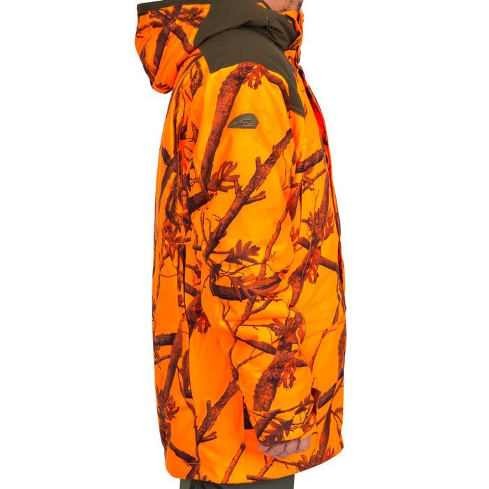 CHAQUETA Caza Solognac 500 3 en1 Impermeable Calida Camuflaje Naranja Fluo