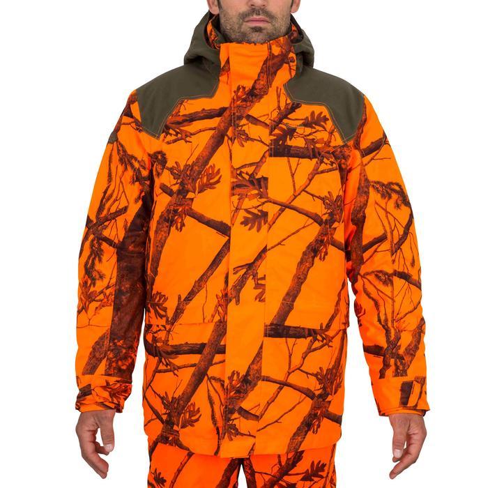 Warme en waterdichte 3-in-1 jas voor de jacht 500 fluocamouflage
