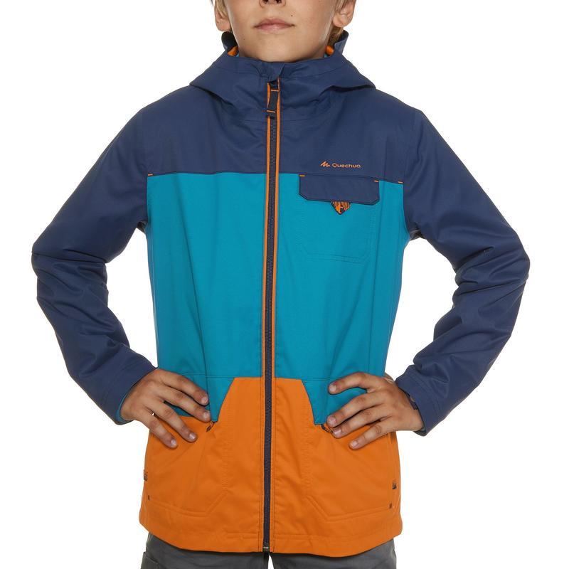 Chaqueta cálida impermeable de excursión Niños Hike 500 3 en 1 azul