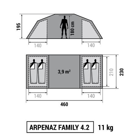 Tente de camping familiale arpenaz family 4 2 4 - Tente 4 places 2 chambres seconds family 4 2 xl ...