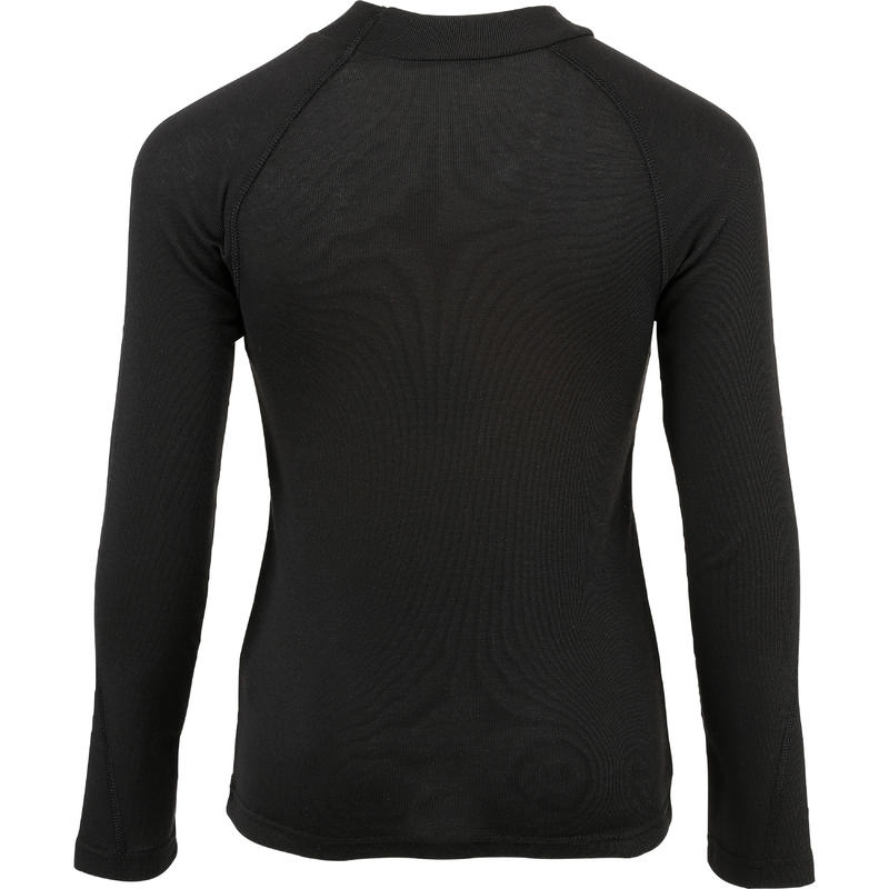 KIDS' SKI BASE LAYER TOP 100 - BLACK