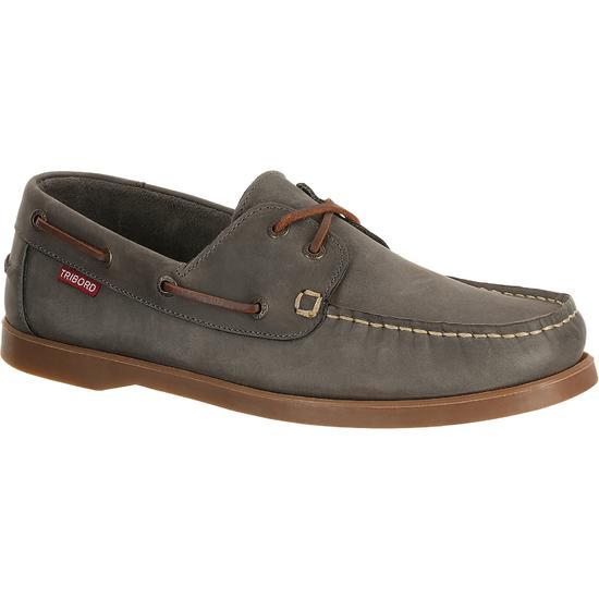 Leren bootschoenen CR500 voor heren donkerbruin - 898329