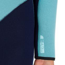 Wetsuit 100 neopreen 4/3 mm dames blauw - 898403