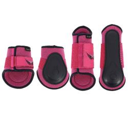 Set van 2 pees- + 2 kogelbeschermers Soft ruitersport roze/marine - pony/paard