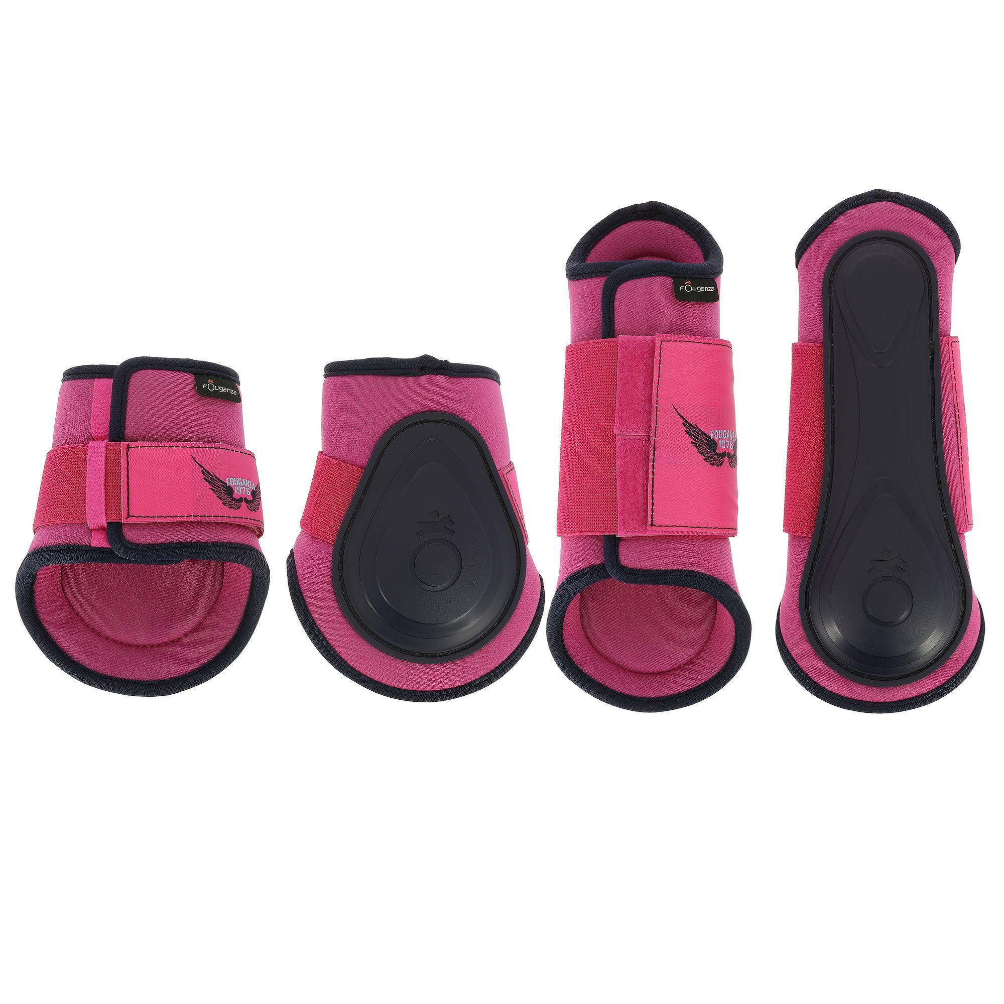 Fouganza Set van 2 pees- en 2 kogelbeschermers Soft ruitersport roze/marine - pony/paard
