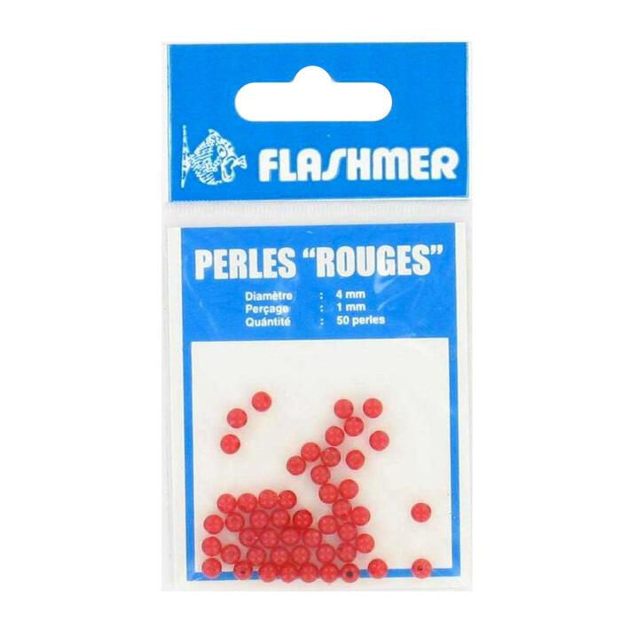 Perlen 4 mm, 50 Stück, rot, Meeresangeln