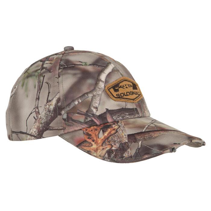 Casquette éclairante chasse Actikam 500 Led camouflage marron - 90517