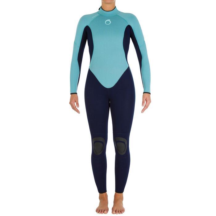 Wetsuit 100 neopreen 4/3 mm dames blauw
