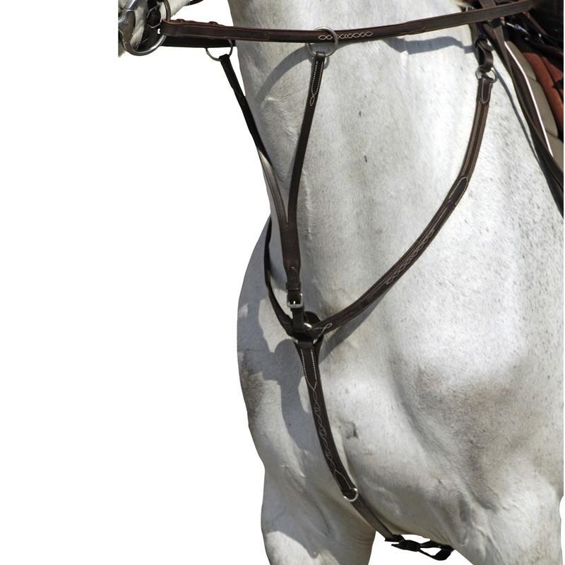 Pechopetral + gamarra equitación Fouganza ROMEO caballo y poni negro