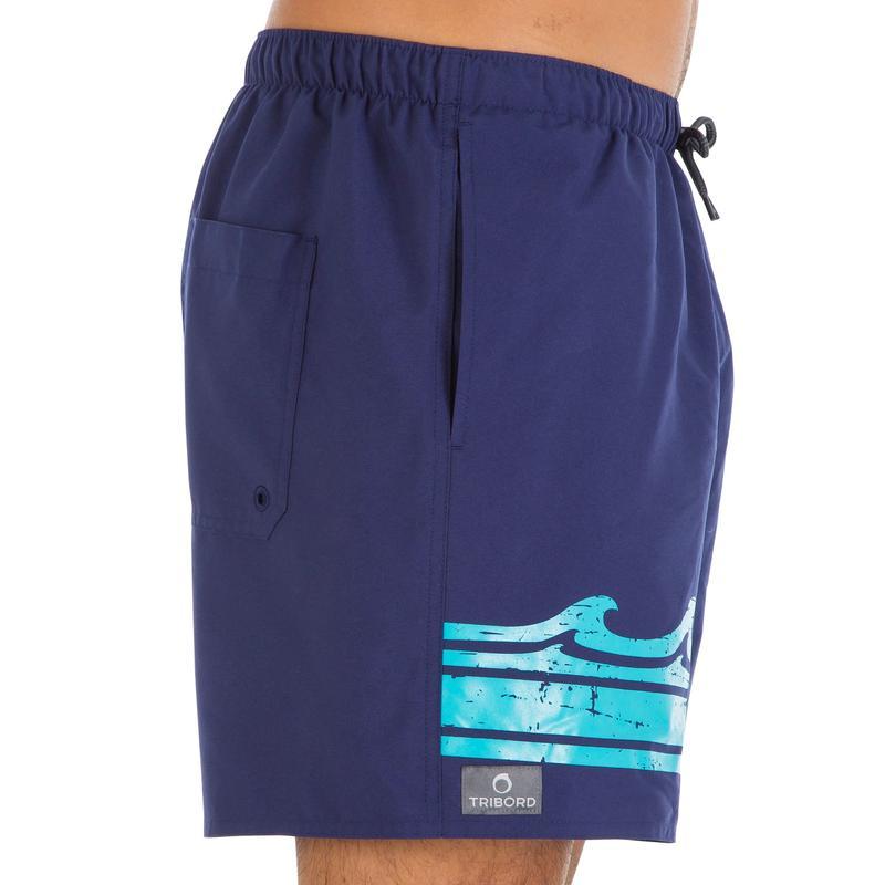 Short de bain court homme Hendaia Wave bleu