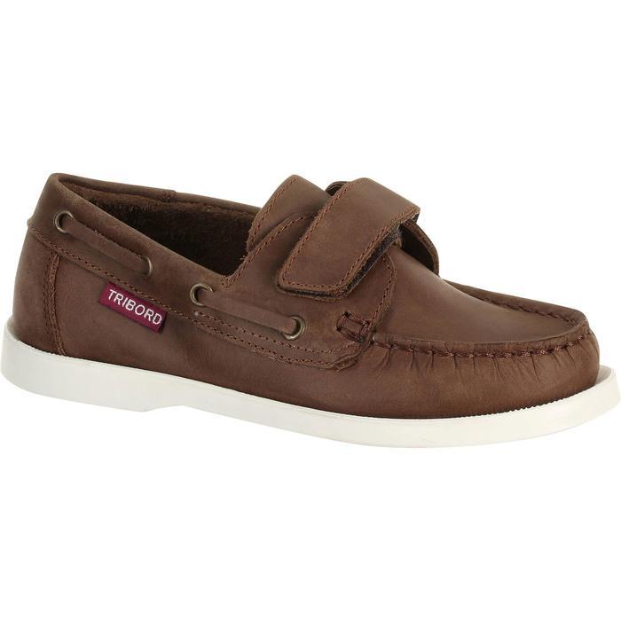 Chaussures bateau cuir enfant CR500 marron - 910841